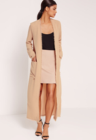 Missguided Frayed Hem Duster Coat Nude
