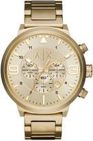 Armani Exchange Men's Chronograph Gold-Tone Stainless Steel Bracelet Watch 49mm AX1368