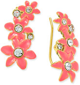 Kate Spade Lovely Lillies Gold-Tone Enamel Floral Ear Crawlers