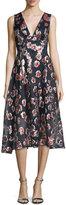 Lela Rose Sleeveless Floral-Print Midi Dress, Cranberry