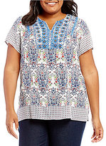 Intro Plus Short Sleeve Rayon Printed Lace & Bead Embellishment Top