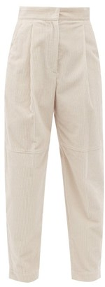 Brunello Cucinelli Pleated Cotton-corduroy Trousers - Ivory