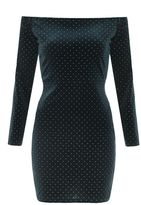 Quiz Bottle Green Velvet Studded Bardot Bodycon Dress