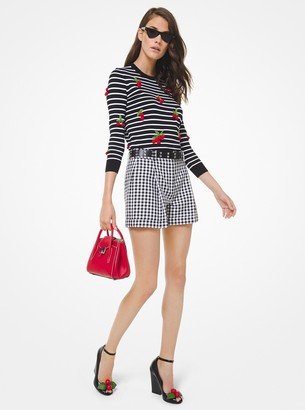 Michael Kors Collection Gingham Cotton Tap Shorts