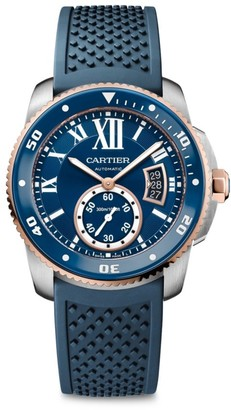 Cartier Calibre de Stainless Steel, 18K Pink Gold & Blue Rubber-Strap Diver Watch