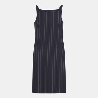 Theory Square Neck Dress in Striped Good Wool