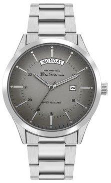 Ben Sherman Men's Silver-Tone Stainless Steel Classic Three Hand Watch, 43mm