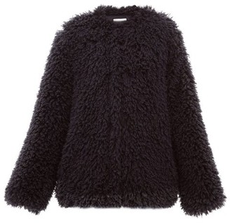 Raey Collarless Faux Mongolian-shearling Jacket - Womens - Navy