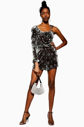 Topshop Womens Tall Star Velvet One Shoulder Playsuit - Khaki