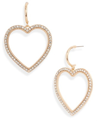 Rachel Parcell Pave Heart Drop Earrings