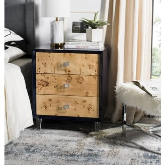 Safavieh Couture Paolo Burlwood Lacquer End Table with 3 Drawers