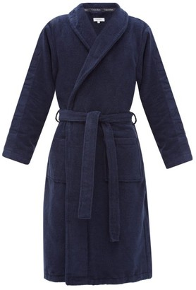 Calvin Klein Underwear Logo-jacquard Cotton-terry Bathrobe - Navy