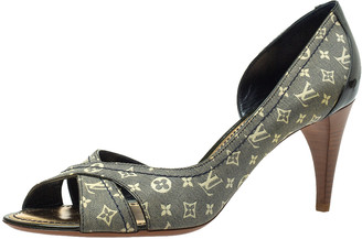Louis Vuitton Blue/Green Mini Lin Canvas And Patent Leather D'orsay Open Toe Pumps Size 40