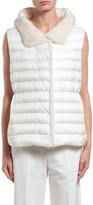 Moncler Beurre Long Mink Fur-Trim Hooded Puffer Vest