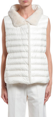 Moncler Beurre Long Mink Fur-Trim Hooded Puffer Vest