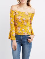 Charlotte Russe Floral Off-The-Shoulder Bell Sleeve Top