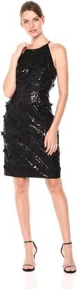 Eliza J Women's Halter Sequin Dress with Floating Flower Detail