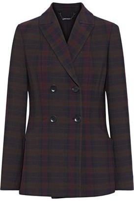 Elie Tahari Launie Double-breasted Checked Twill Blazer
