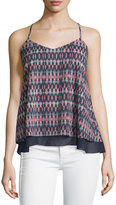 Dex Printed Layered V-Neck Tank, Navy/Pink
