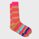 Paul Smith Men's Pink And Brown Striped Socks