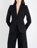 Alexander McQueen Padded peak-shoulder wool blazer