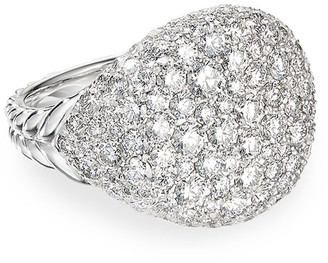 David Yurman Chevron Pave Diamond Pinky Ring in 18k White Gold, Size 3.5