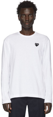 Comme des Garcons White and Black Heart Patch Long Sleeve T-Shirt