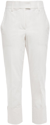 Brunello Cucinelli Bead-embellished Stretch-cotton Tapered Pants