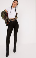 PrettyLittleThing Favianna Black Strappy Waist Leggings