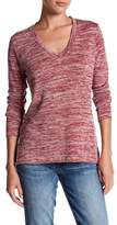 KUT from the Kloth V-Neck Faux Leather Elbow Patch Slub Sweater