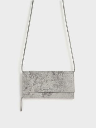 Charles & Keith Crumpled-Effect Front Flap Long Wallet
