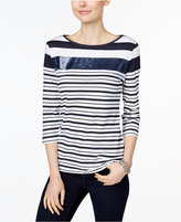 Charter Club Petite Sequined Striped Top, Only at Macy's