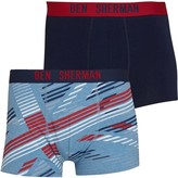 Ben Sherman Mens Colton Two Pack Trunks Print/Navy