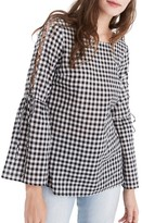 Madewell Women's Lace-Up Sleeve Gingham Blouse
