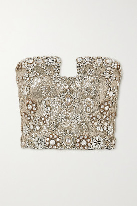 Alexander McQueen Crystal-embellished Sequined Silk-crepe Bustier Top - Black