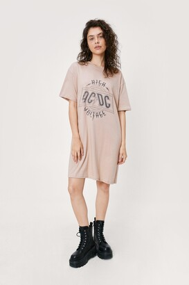 Nasty Gal Womens Know Your ACDC Graphic Tee Dress - Natural