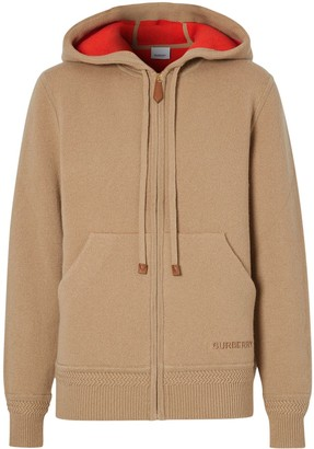 Burberry Embroidered-Logo Cashmere Hoodie