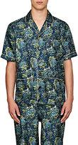 Burberry X Barneys New York Men's Floral-Print Silk Pajama Shirt-TURQUOISE