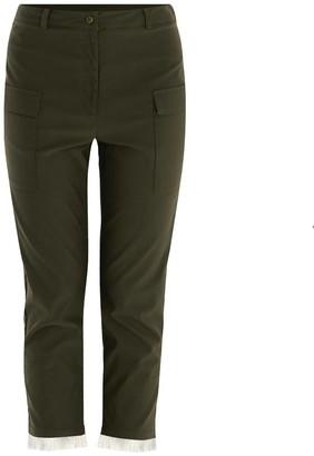 Paisie Trousers With Patch Pocket & Fringe Hem In Green & White