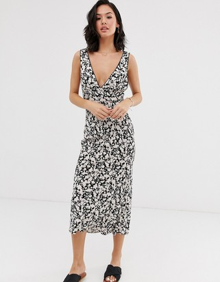 Free People ohh la la bias cut floral midi dress-Black