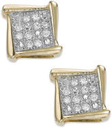 Macy's Diamond Accent Square Stud Earrings in 10k White, Yellow or Rose Gold