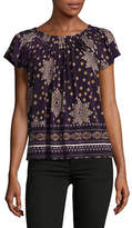 Style And Co. Petite Floral Print Pleated Top