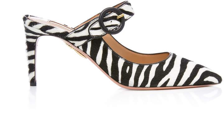 Aquazzura Blossom Zebra-Print Calf Hair Mule Pumps