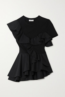 Alexander McQueen Ruffled Sateen And Cotton-jersey Peplum T-shirt - Black