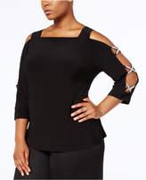 MSK Plus Size Embellished Split-Sleeve Top