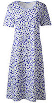 Classic Women's Petite Short Sleeve Knee Nightgown-Radiant Navy/Ivory Snowballs