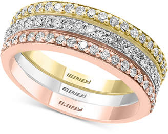 Effy Diamond Tri-Color Band Ring (5/8 ct. t.w.) in 14k White Gold, 14k Rose Gold and 14k Gold