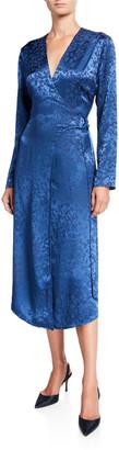 Sally LaPointe Floral Jacquard Satin D-Ring Wrap Dress