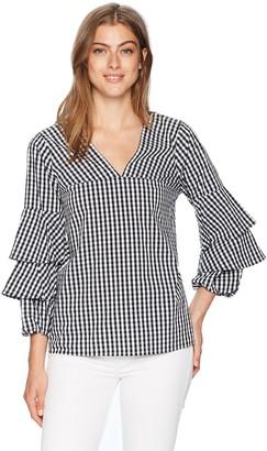Kensie Women's Gingham Check Tiered Sleeve Top