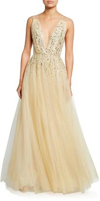 Jenny Packham Samar Beaded V-Neck Ball Gown